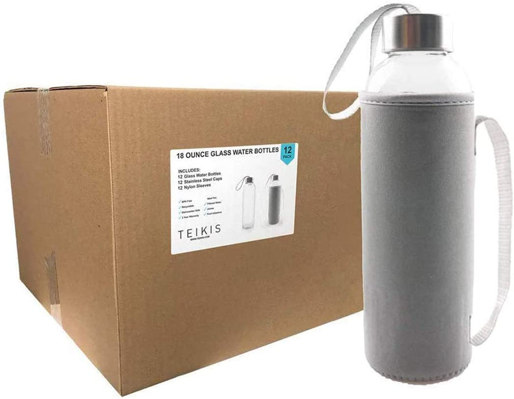 Teikis 18-Oz Glass Water Bottle with 12 Non Slip Protection Sleeve - No Leak (12-Pack)