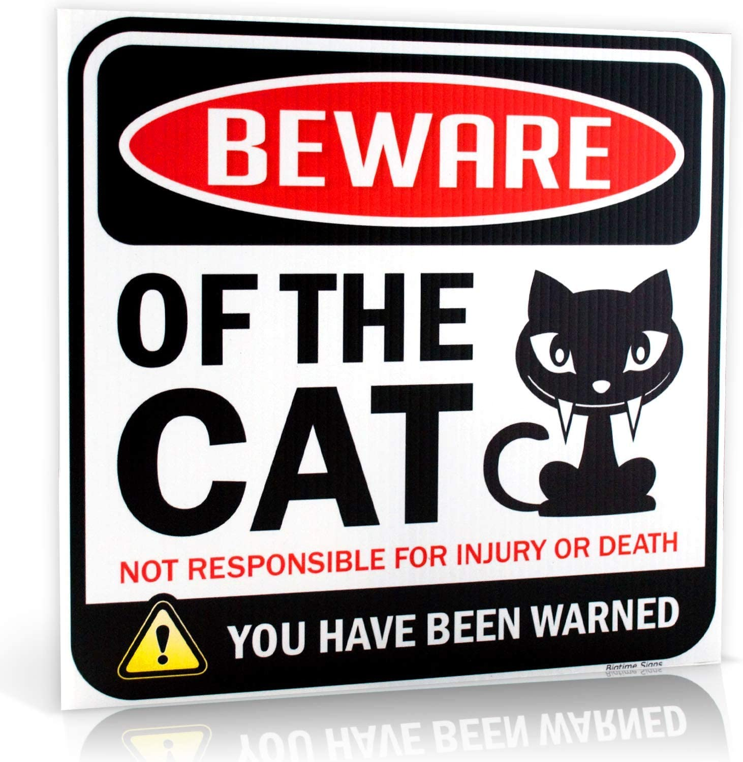 Bigtime Signs Beware of Cat Warning Sign - 12 inch Square - Danger Sign Funny Gag Gifts for Window, Office, Bedroom Decor - Corrugated Plastic - Indoor or Outdoor - Kitty Sign Made in USA