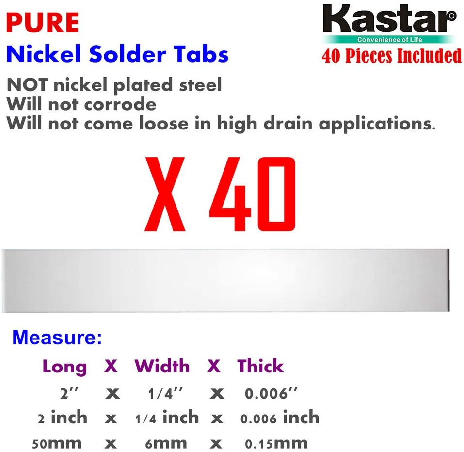 Kastar Pure Nickel Solder Tab (40 Pieces), commercial grade best suited for heavy duty, high current and hig capacity battery packs. Build your own RC Toys and Power Tool battery pack DIY projects.
