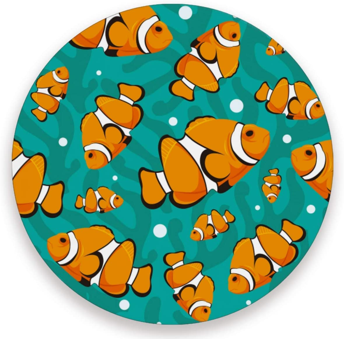 Olinyou Cute Goldfish Yellow Sea Coaster for Drinks 1 Pieces Absorbent Ceramic Stone Coasters with Cork Base