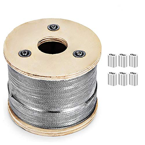 Stainless Steel Cable 1/8 T316 1x19 Aircraft Cable Railing Wire Rope for Cable Railing Project, Decking and DIY Balustrade 500ft