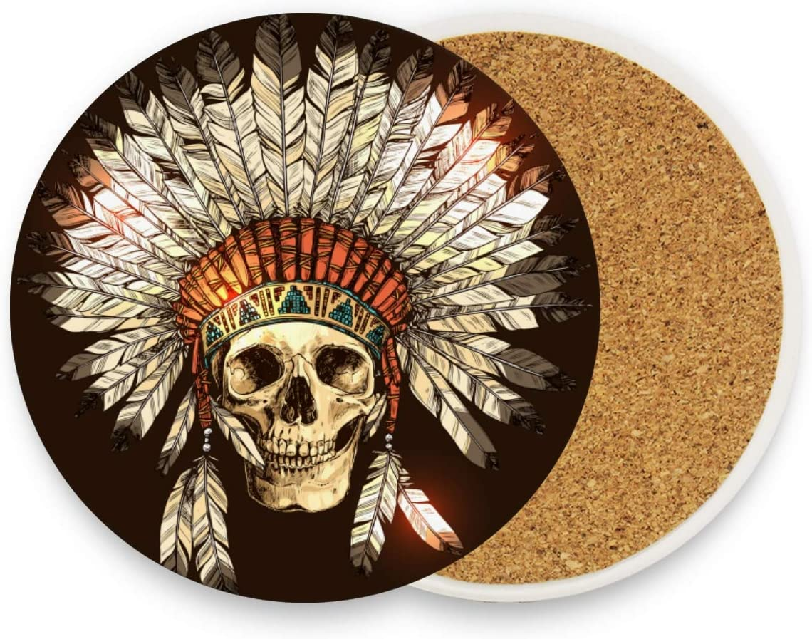 Exnundod Indian Headdress Ceramic Coasters Human Skull Cup Holder Heat-resistant Drinks Cork Base 1 Unit