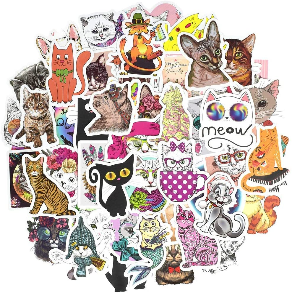 Honch Vinyl Cute Cat Stickers Pack 50 Pcs Cute Kitty Decals for Laptop Ipad Car Suitcase Luggage Water Bottle Helmet
