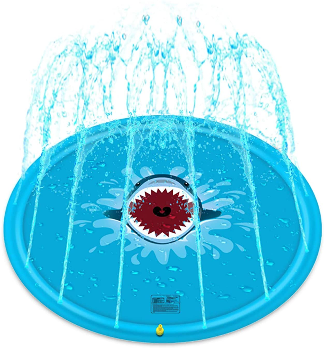 Splash Pad, Sprinkler for Kids, Inflatable Sprinkler Pad Water Toys, Outdoor Swimming Toys Large Wading Pool for Toddler and Baby (Blue Shark, 68 Inch)