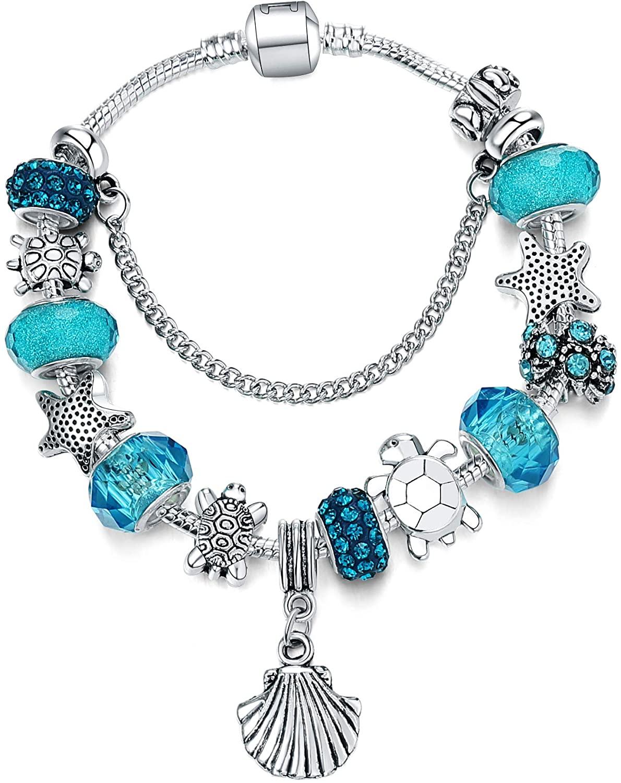 Majesto Beach Charm Bracelet for Women Girls 7-8.5 Inch Shell Bracelet Sea Turtle Bracelet Summer Bracelets Sea Glass Jewelry Gifts Silver Plated