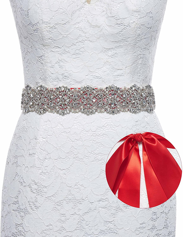 Sisjuly Rhinestone Bridal Belt Handmade Silver Crystal Satin Wedding Sash Belt for Bridesmaid Formal Prom Evening Dresses