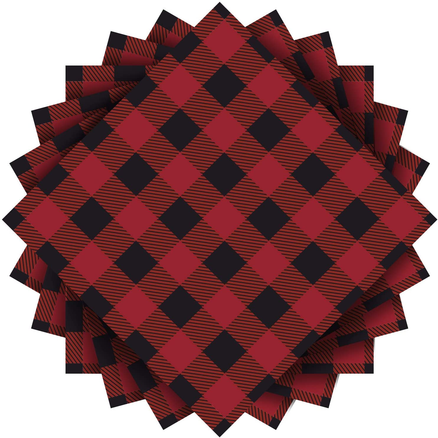 Aneco 80 Pack Red and Black Plaid Papers Napkins Luncheon Napkins for Wedding, Party, Birthday, Dinner, Lunch with 3 Layers, 6.5 by 6.5 Inches