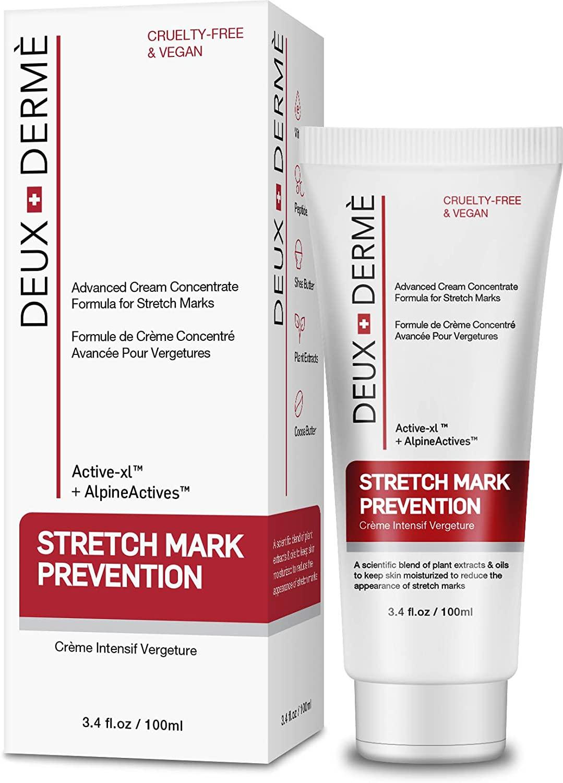 Deux Derme - Stretch Mark Prevention Cream, with Vitamin E, Cocoa Butter for Pregnancy, Weight Gain, 3.4 oz.