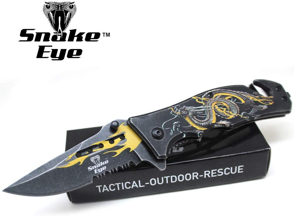 Snake Eye Tactical Every Day Carry Dragon Designed Folding Knife | Outdoor Survival Pocket Knife | Small one-Hand Knife Made of Stainless Steel Blade