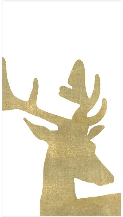 Caspari Alpine Stag Paper Linen Guest Towel Napkins in White, Four Packs of 12