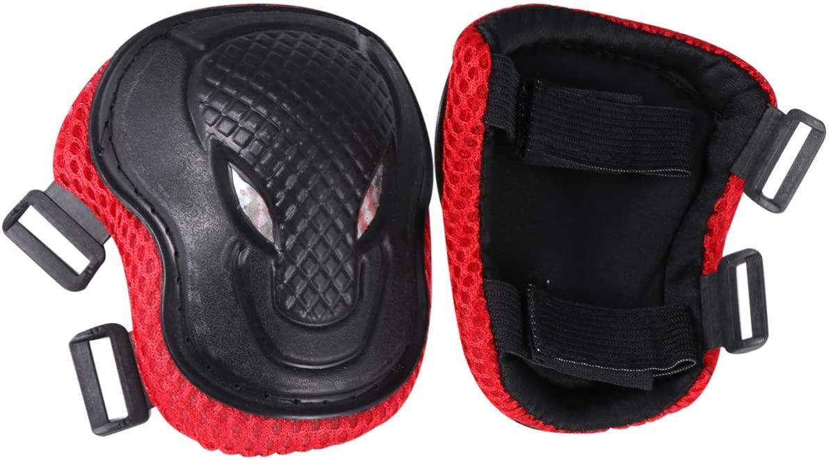 Garneck Knee Pads for Kids Adult Elbows Pads Wrist Guards Protective Gear Set for Skateboarding Roller Skating Cycling (Black + Red)