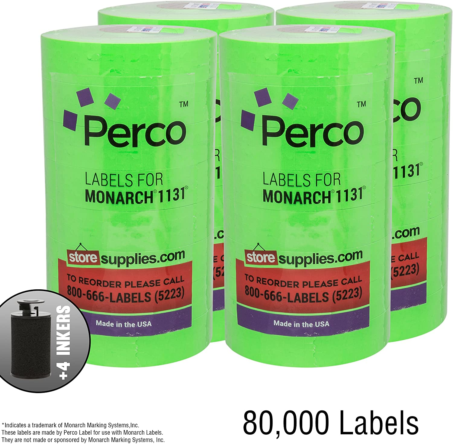 Flou. Green Pricing Labels for Monarch 1131 Price Gun – Buy 3 Sleeves Get 1 Free! – 80,000 Labels with Bonus Ink Rolls