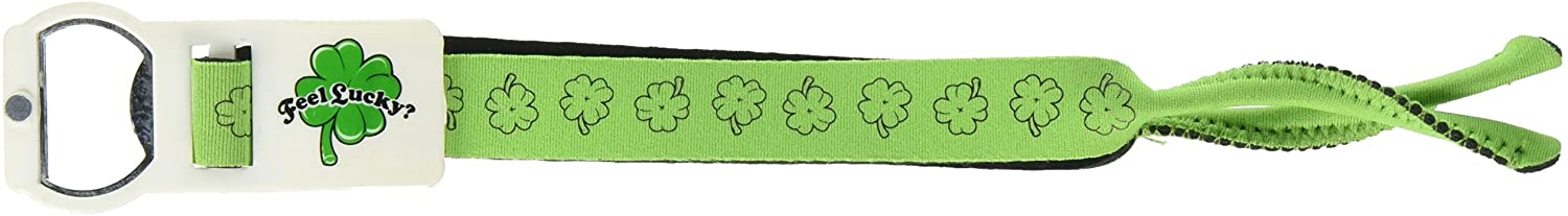 Hat Trick Openers Eye Opener Sunglass Strap with attached Opener, Feel Lucky Logo, Green Neoprene