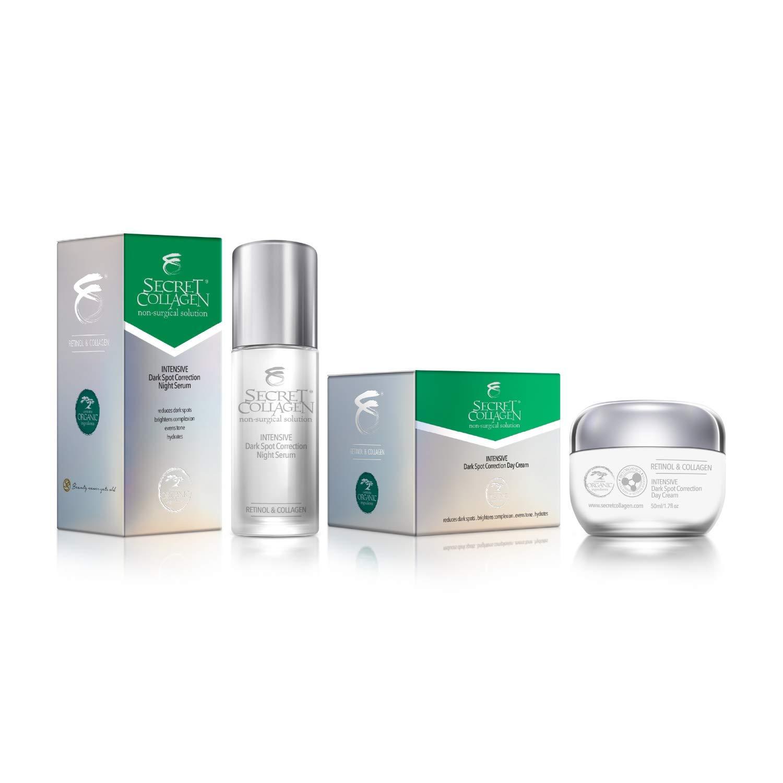 Secret Collagen Intensive Dark Spot Remover Night Serum and Intensive Dark Spot Remover Day Cream Value Pack, Contains Collagen & Retinol, Removes Skin Tags, Hydrates, Replenishes & Illuminates Skin