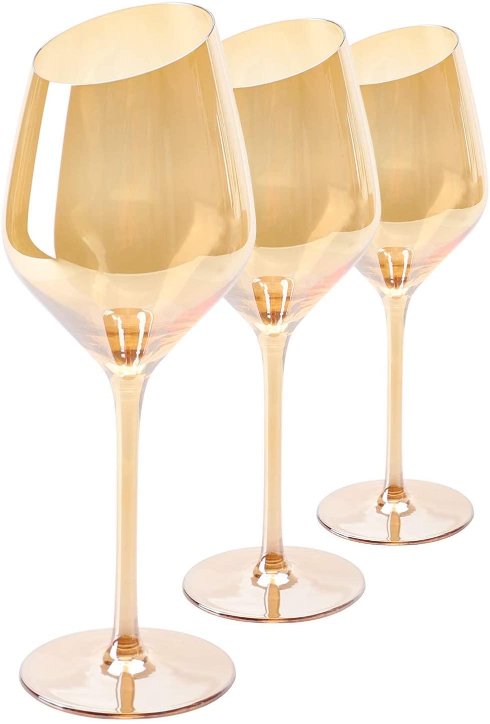Crystal Wine Glass, Beasea 10 oz Set of 3 Red Wine Glasses Long Stem Wine Glasses Hand Blown White Wine Glasses for Wedding Anniversary - Amber