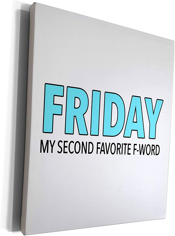 3dRose EvaDane - Funny Sayings - Friday My Second Favorite F Word Aqua - Museum Grade Canvas Wrap (cw_321011_1)