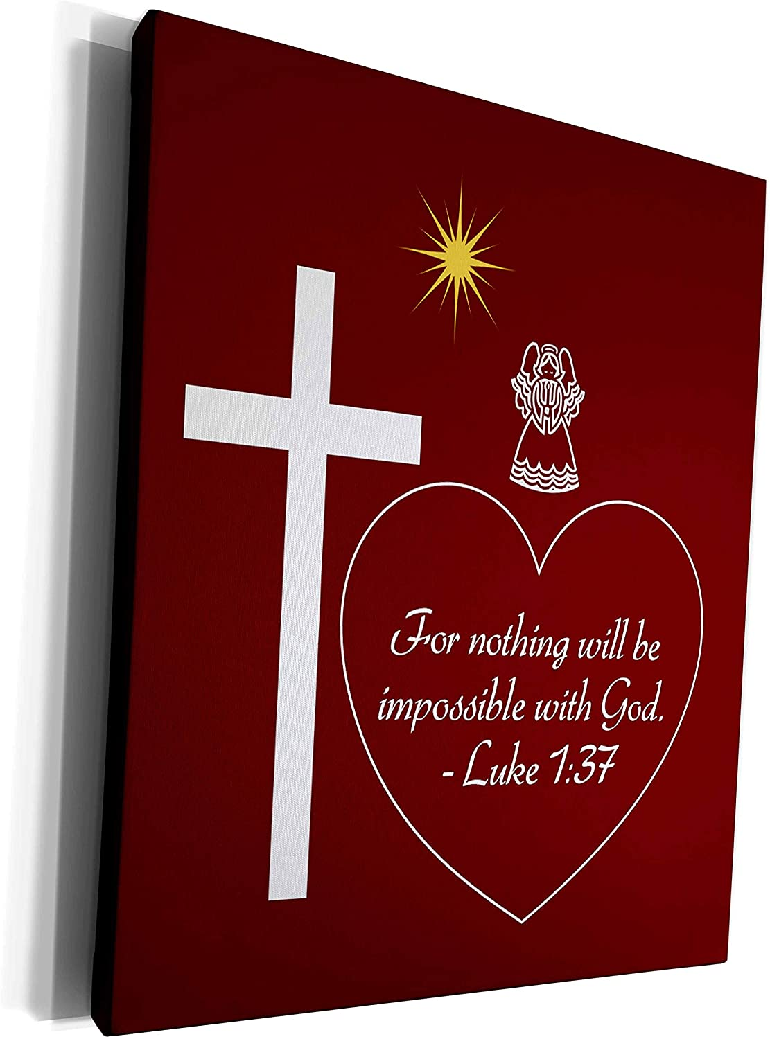 3dRose Alexis Design - Holidays Christmas Bible Verses - Red, white cross, angel, star, heart. For nothing will be impossible - Museum Grade Canvas Wrap (cw_301521_1)