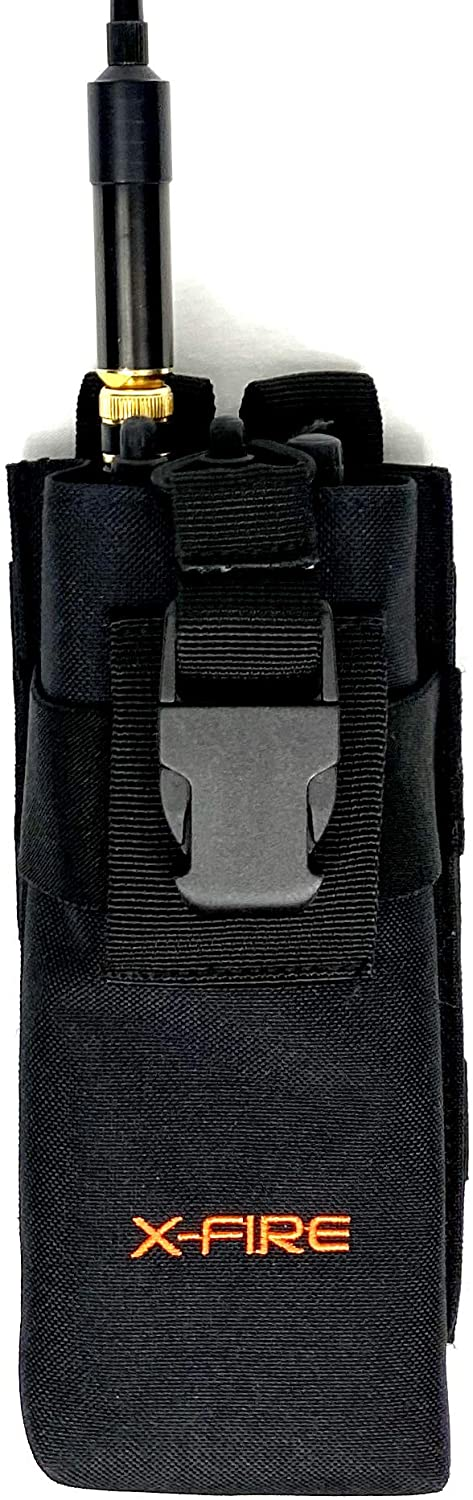 X-FIRE Tall Portable Radio Duty Belt MOLLE Washable Pouch Holder Holster Case For Tactical Two-Way Walkie Talkie VHF UHF Handset Radios Scanner GPS Firefighter APX EMS EMT Fire LE Police Search Rescue