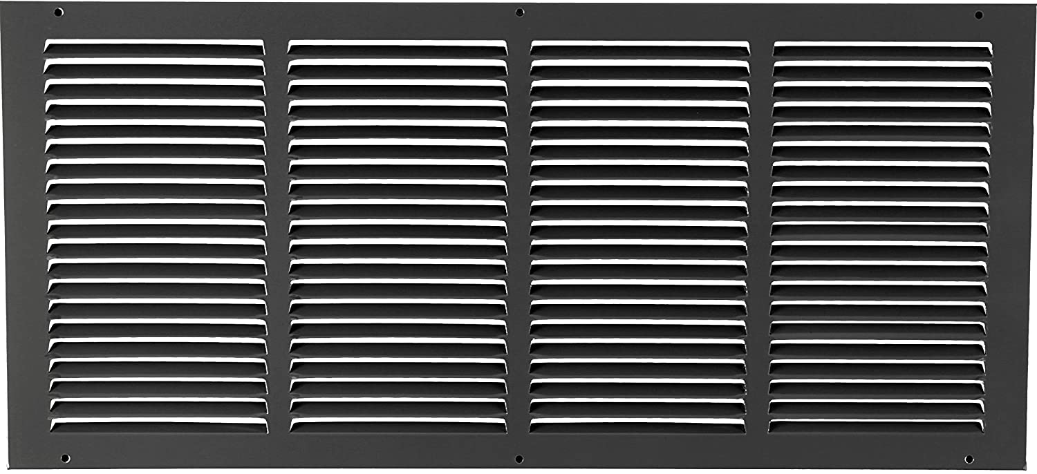 24w X 10h Steel Return Air Grilles - Sidewall and Ceiling - HVAC Duct Cover - Black [Outer Dimensions: 25.75w X 11.75h]