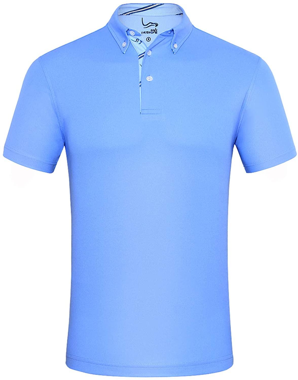 EAGEGOF Mens Shirts Short Sleeve Tech Performance Golf Polo Dri-Fit Shirt Standard Fit