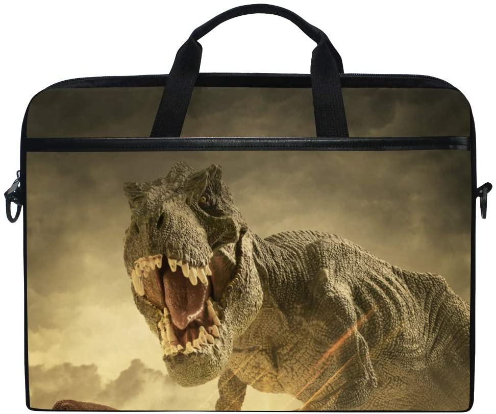 MRMIAN Tyrannosaurus Dinosaur T-Rex Laptop Case Bag Sleeve Portable/Crossbody Messenger Briefcase Convertible w/Strap Pocket for MacBook Air/Pro Surface Dell ASUS hp Lenovo 15-15.4 inch