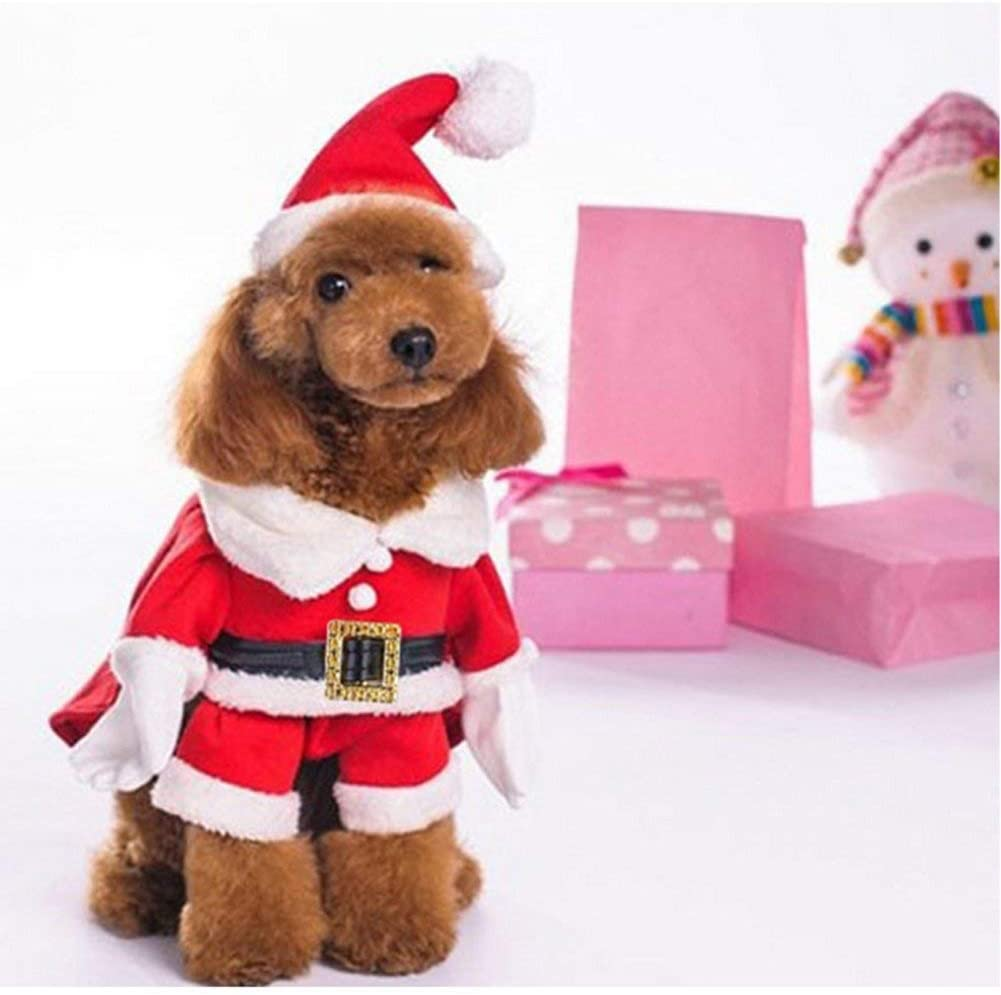 Delifur Dog Christmas Costumes with Hat Dog Santa Costume Dog Xmas Costume for Small Dog Cat Puppy
