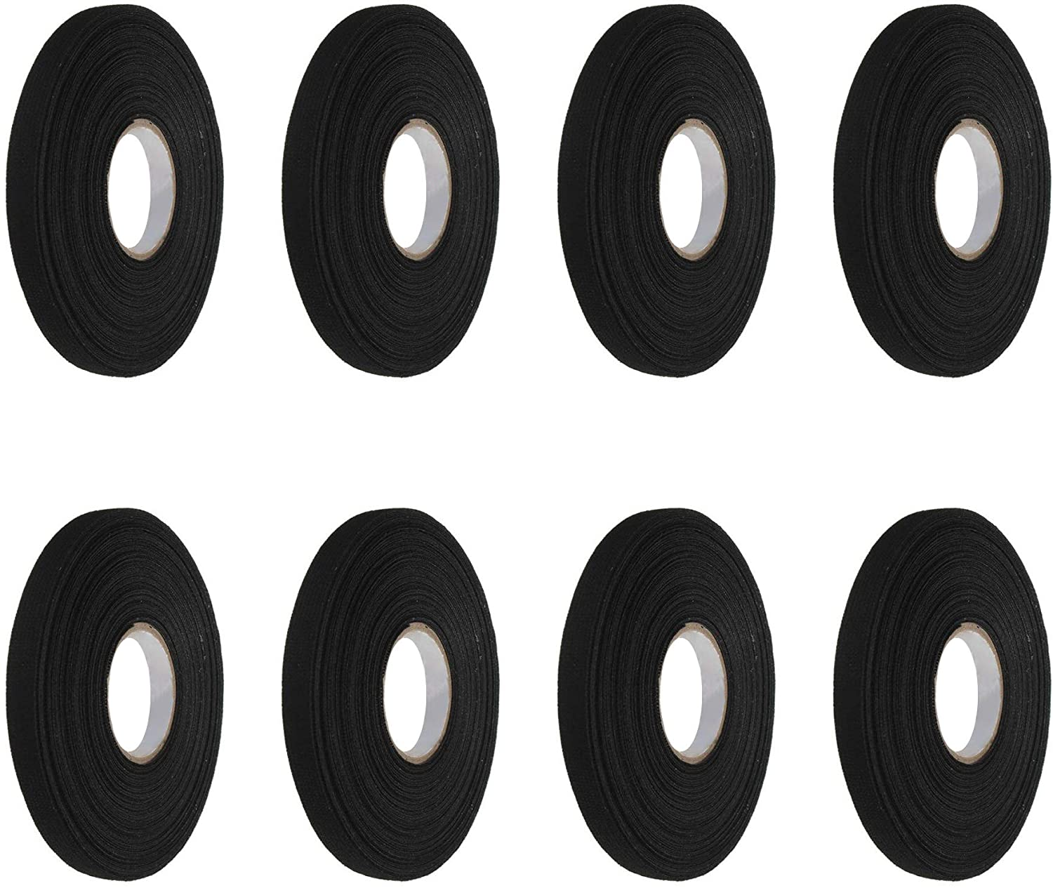 MOTZU 8 Rolls Adhesive Cloth Fabric Harness Tape for Automotive Electrical Looms Cars, Black