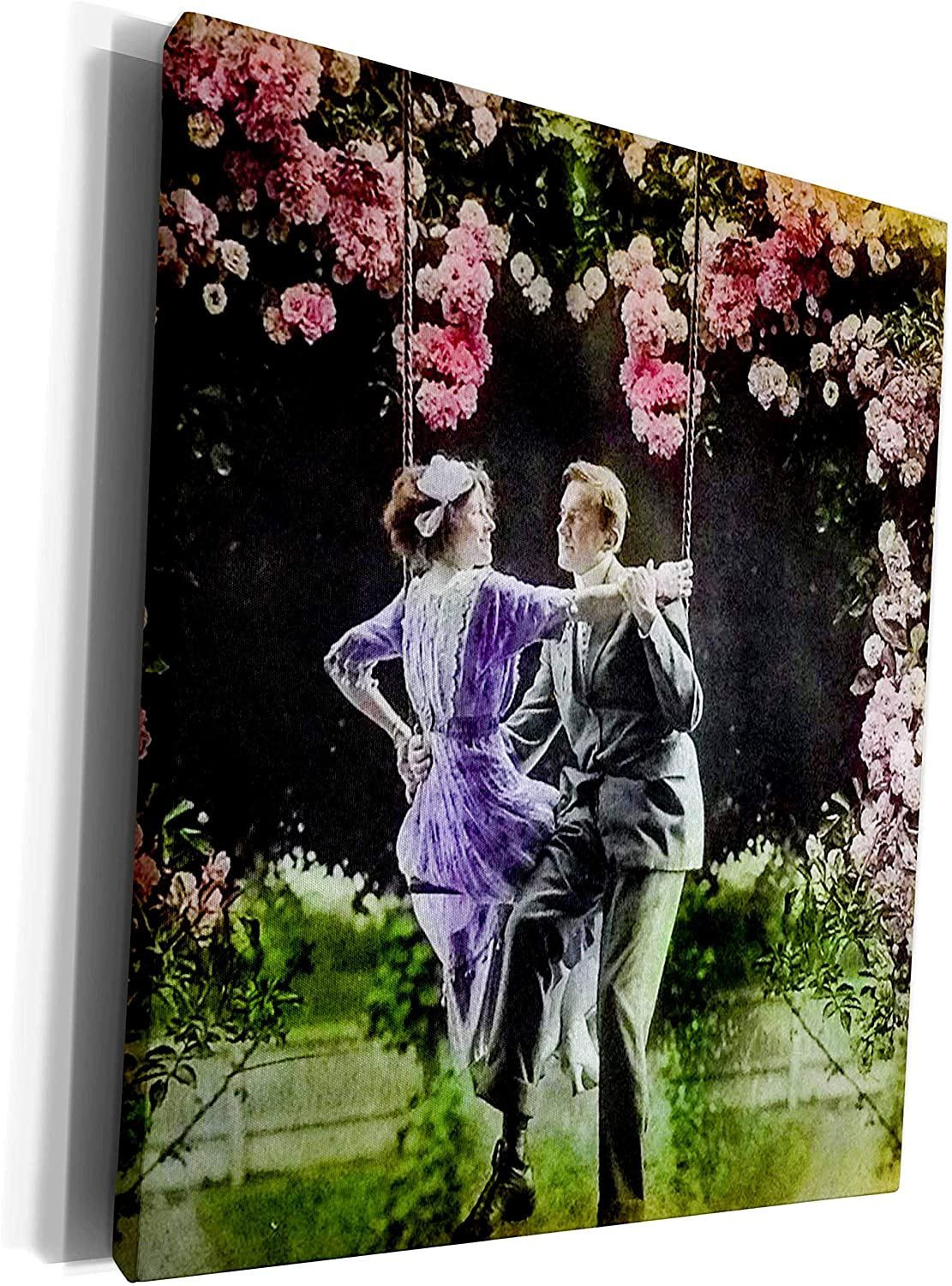 3dRose Scenes from the Past Magic Lantern Slides - Swinging Under the Stars An Edwardian Love Story Surreal Vintage 1910 - Museum Grade Canvas Wrap (cw_270042_1)