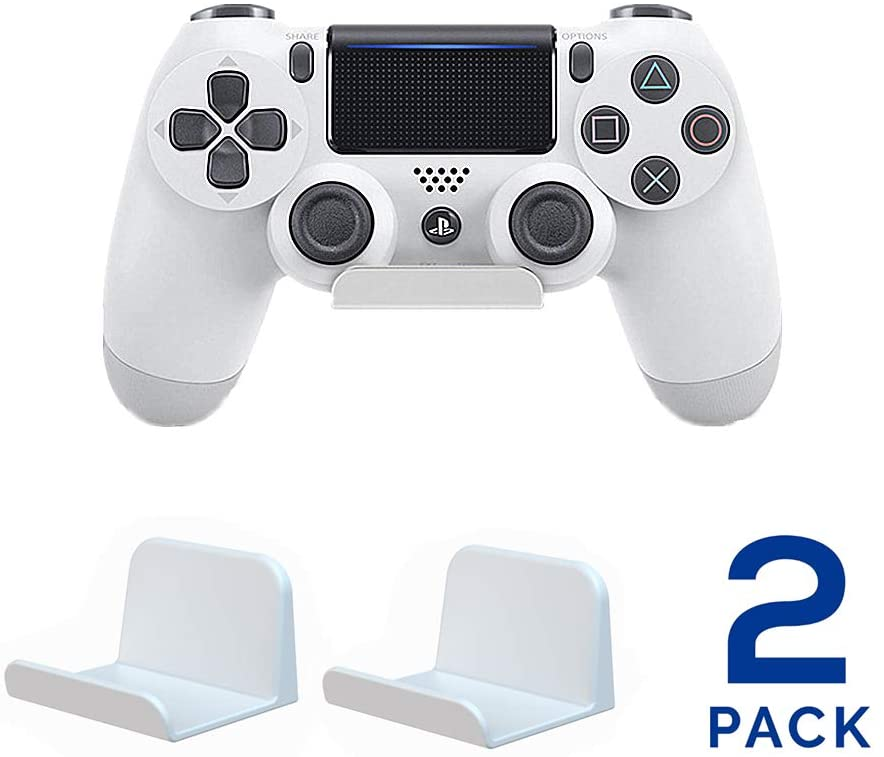 ForBEST 2 Pack PS4 Controller Wall Mount Headphone Stand Headset Holder Hook Stand for Gaming Controller, Cables, Gamepad, Umbrella, Bag, Backpack (White)