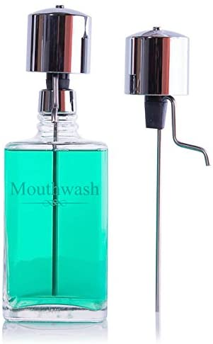 The Perfect Measure Mouthwash Dispenser Lead-Free Crystal with Two Chrome Pumps