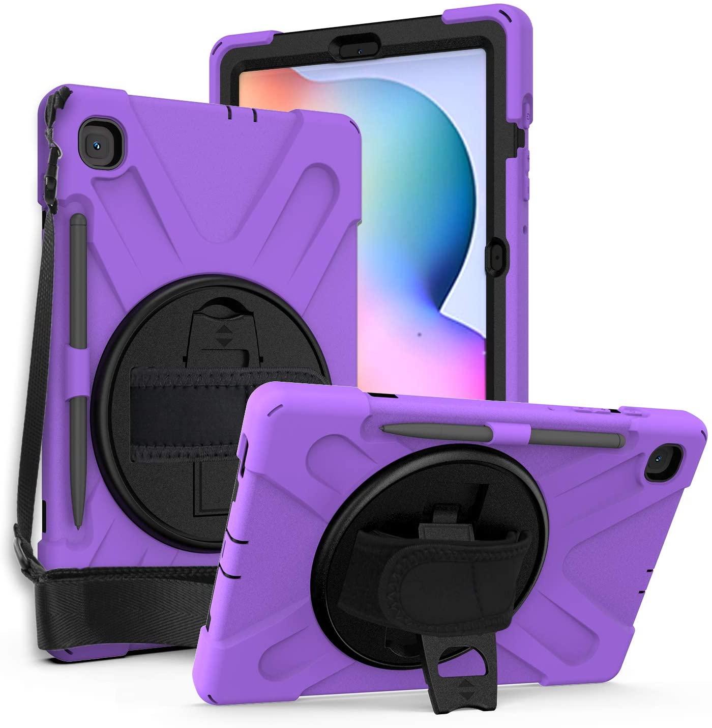 Galaxy Tab S6 Lite 10.4 2020 P610, KIQ Heavy Duty Shockproof Durable Case, Kickstand, Handstrap, Carrying Shoulderstrap Sling for Samsung Galaxy Tab S6 Lite 10.4 P610 (Shield Purple)
