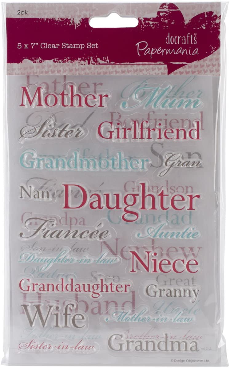 docrafts Papermania Clear Stamps, Relations, 5 by 7-Inch