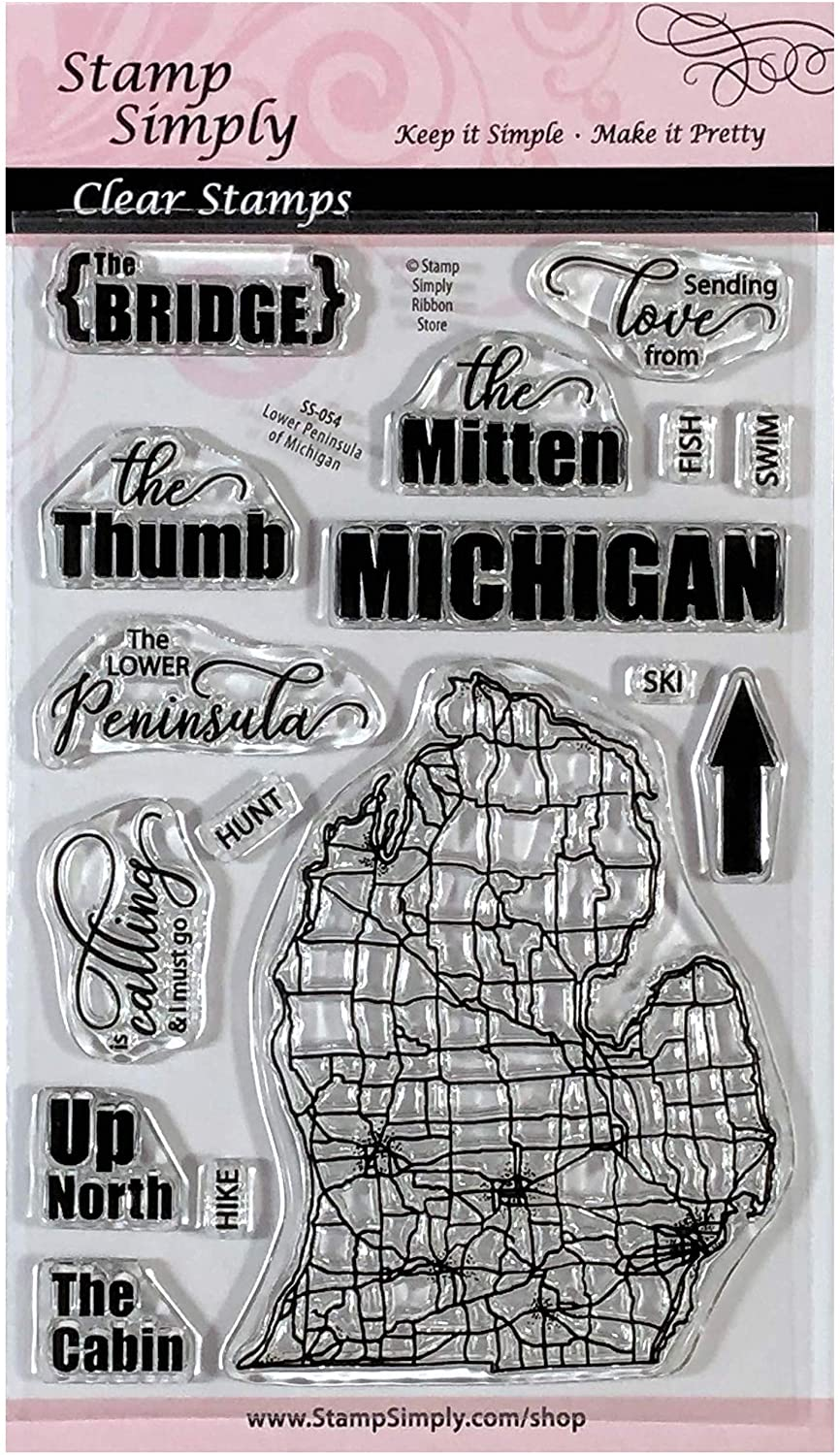 Stamp Simply Clear Stamps Michigan USA Lower Peninsula Stamp The Mitten 4x6 Inch Sheet - 16 Pieces