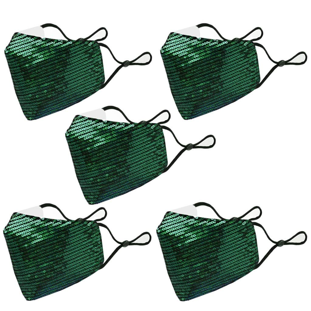 zeipy [ USA in Stock ] Pack of 5 Sequined Cloth Face Másc Fashionable Women Decorative Covering Party Mouth Screen (Green)