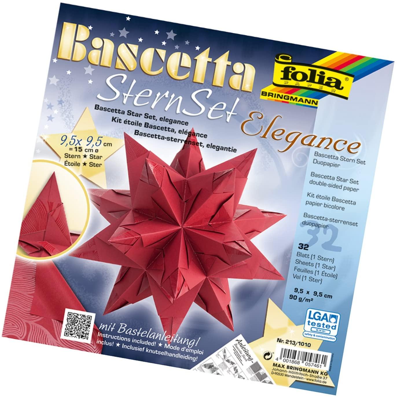 Folia 836/3030Bascetta Star Handicraft Set, Blue, Card, red, 9,5 x 9,5 cm