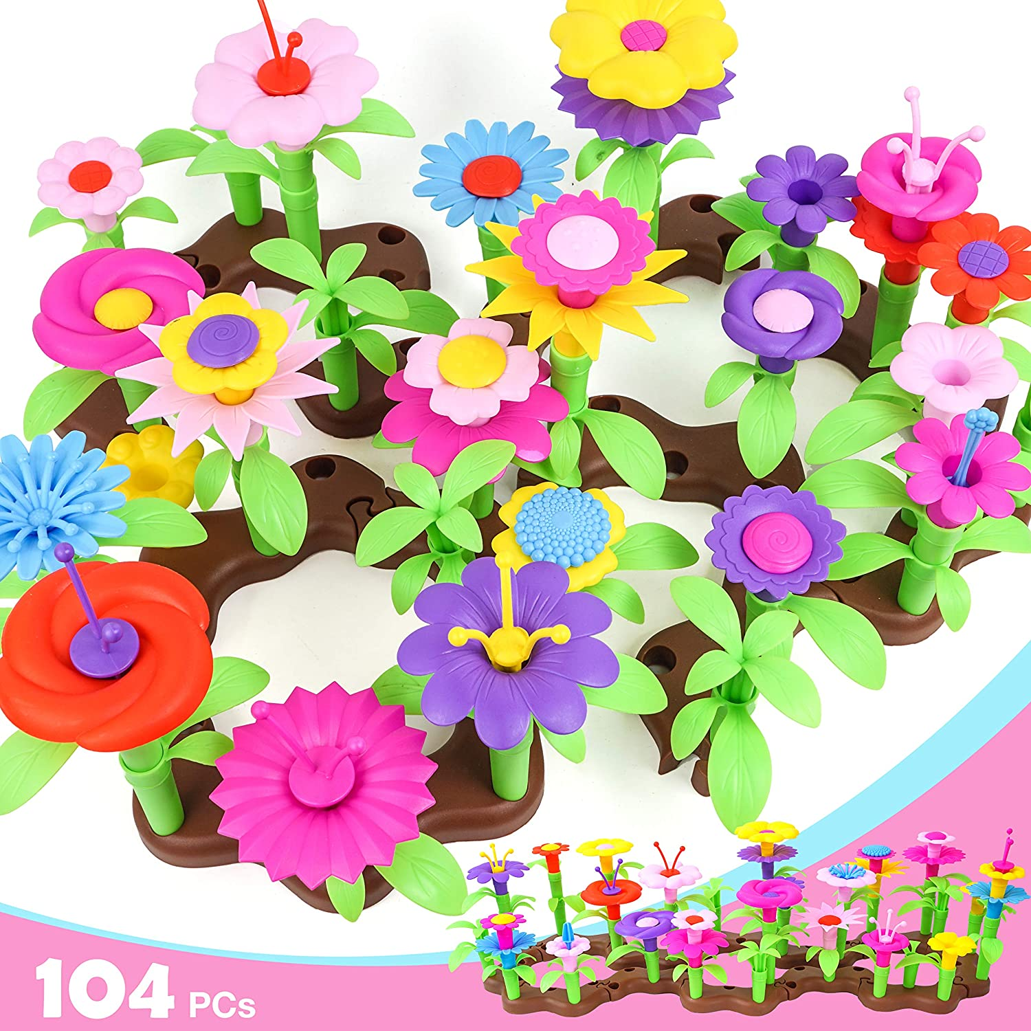 Flower Building Toys, 104PCs Garden Building Block Toys for Kids Girls, Bouquet Arts Educational Toy for Kids Age 3+ Years Old