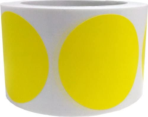 Yellow Color Coding Labels for Organizing Inventory 3 Inch Round Circle Dots 500 Total Adhesive Stickers On A Roll