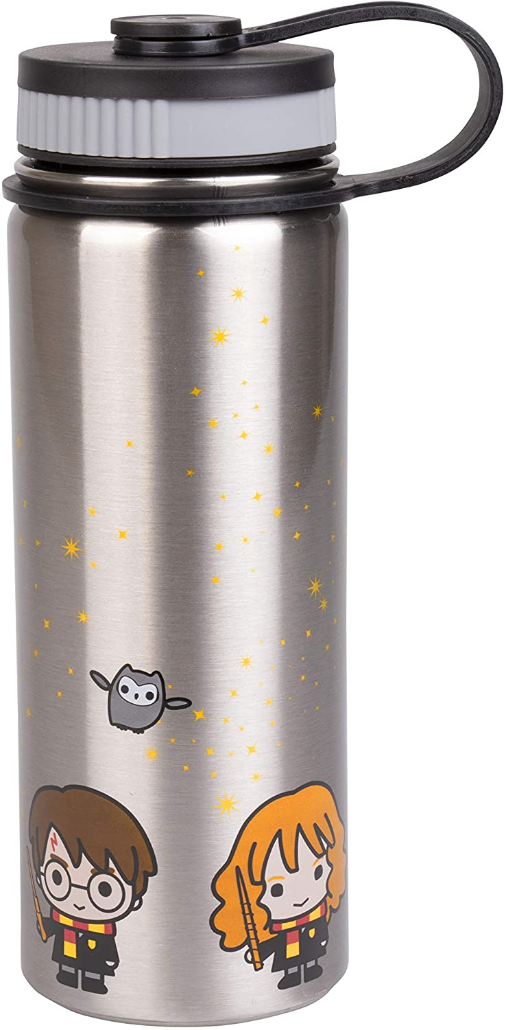 Harry Potter Stainless Steel Water Bottle - Steel with With Harry, Ron and Hermione Chibi Character Design - 550ml