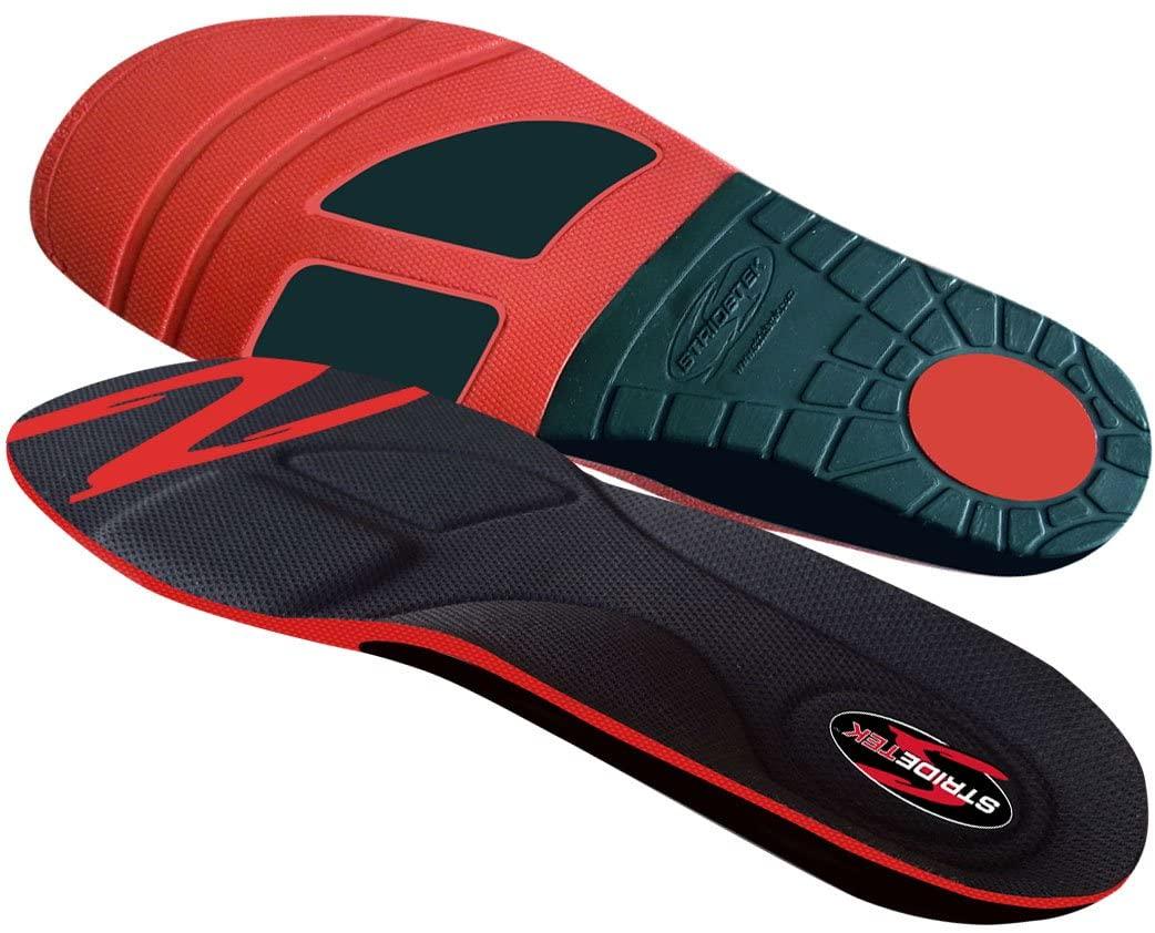 Stridetek Cross Trainer Orthotic Insoles - Arch Support Metatarsal Pad & Gel Plugs Prevent Foot Pain Plantar Fasciitis & Shin Splints - (Red) - Mens 6 / Womens 7
