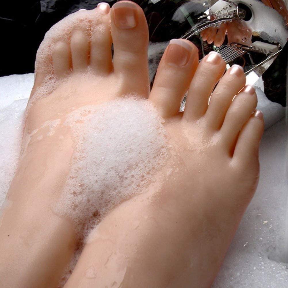 LAMZ Silicone Female Mannequin Foot with Sandal Shoe Sock Knee Display Fetish 1 Pair Model 0829