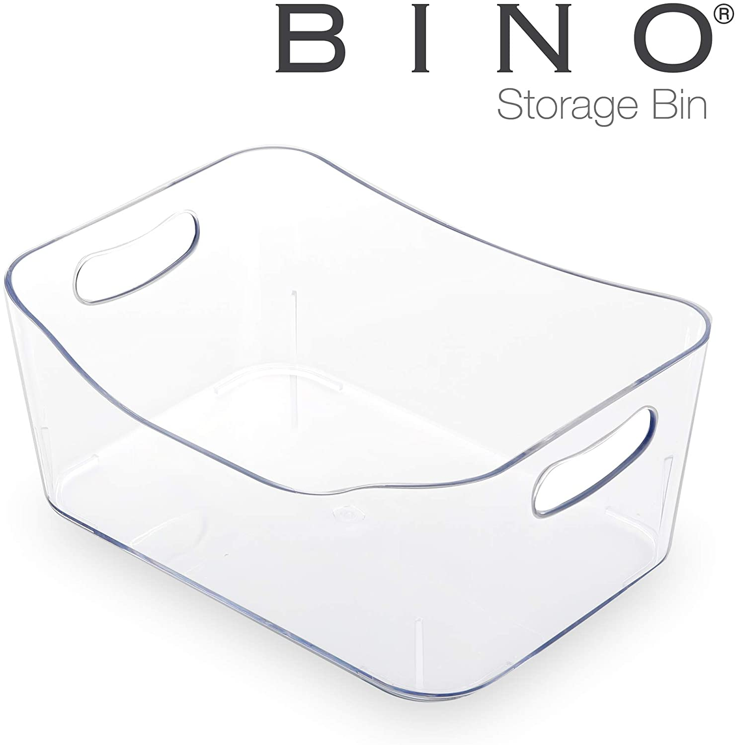 BINO Refrigerator, Freezer and Pantry Cabinet Storage Organizer Bin with Handles - Clear and Transparent Plastic Wide Nesting Food Container for Home and Kitchen (Clear, Small)