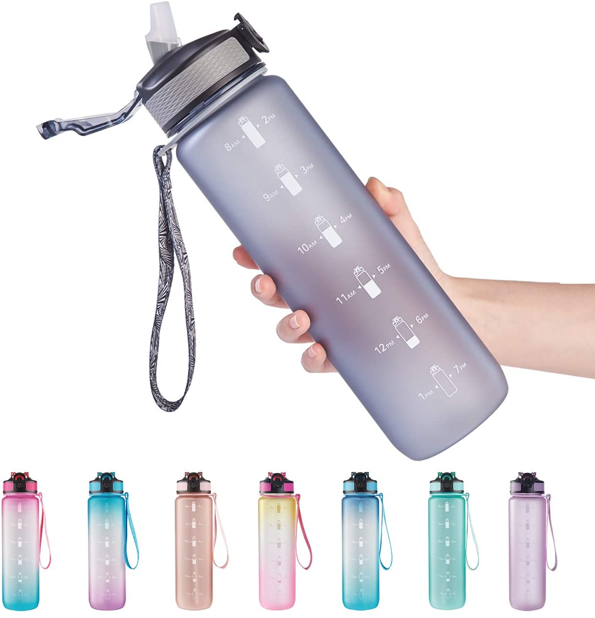 EYQ 32 oz Water Bottle with Time Marker, Carry Strap, Leak-Proof Tritan BPA-Free, Ensure You Drink Enough Water for Fitness, Gym, Camping, Outdoor Sports