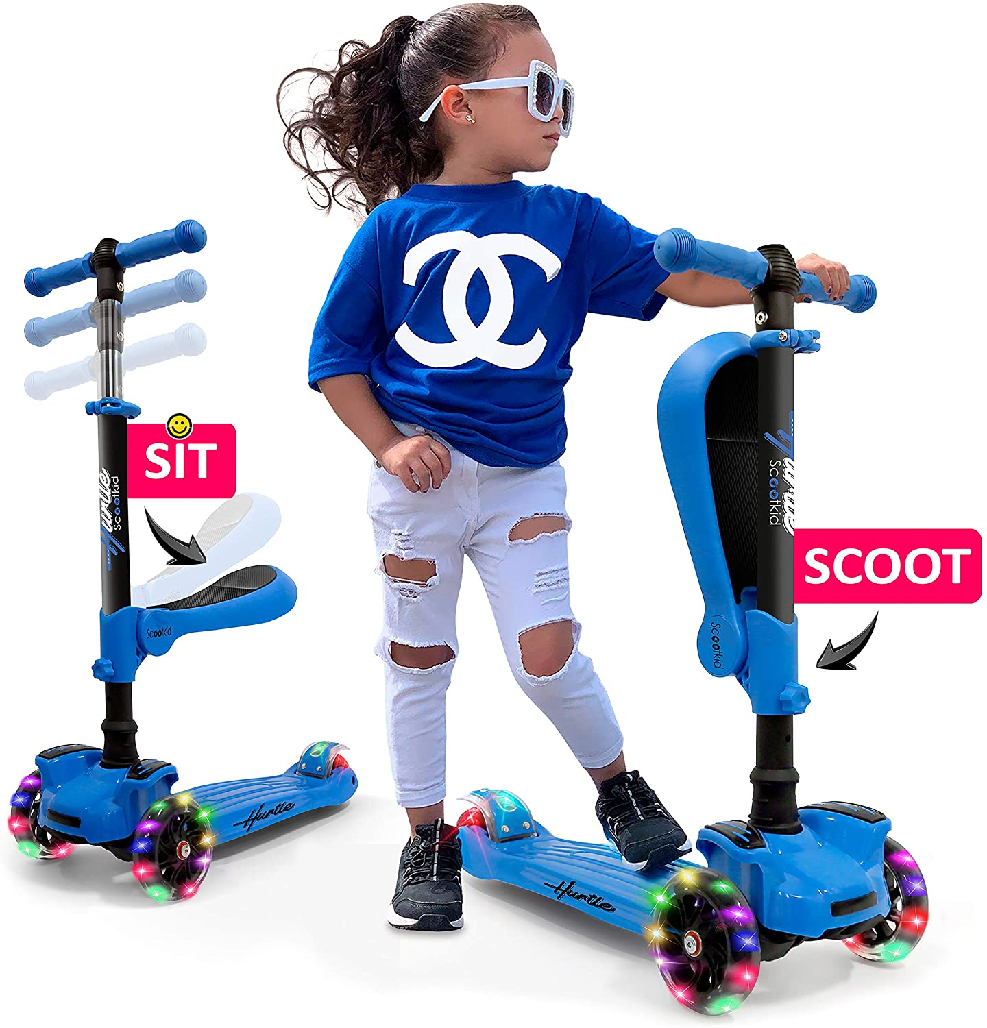 Hurtle 3 Wheeled Scooter for Kids - 2-in-1 Sit/Stand Child Toddlers Toy Kick Scooters w/Flip-Out Seat, Adjustable Height, Wide Deck, Flashing Wheel Lights, for Boys/Girls 1 Year Old HURFS66.5