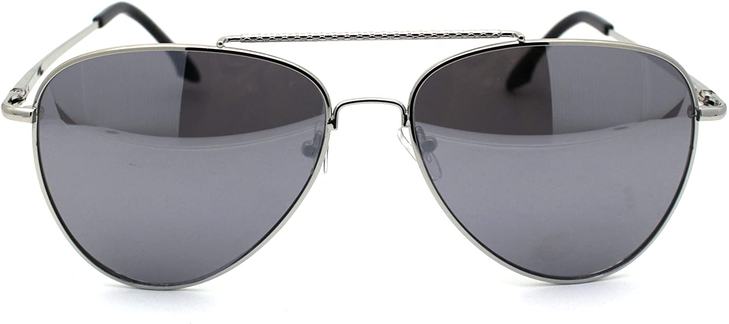 Mens Air Force Classic Officer Ornate Top Bridge Metal Rim Sunglasses
