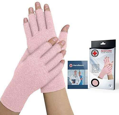 Doctor Developed Pink Ladies Arthritis Compression Gloves and Doctor Written Handbook -Relieve Arthritis Symptoms, Raynauds Disease & Carpal Tunnel (X-Small)