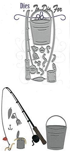 Dies to die for Metal Craft Cutting die - Fishing Pole Set - Fish Worm Bucket