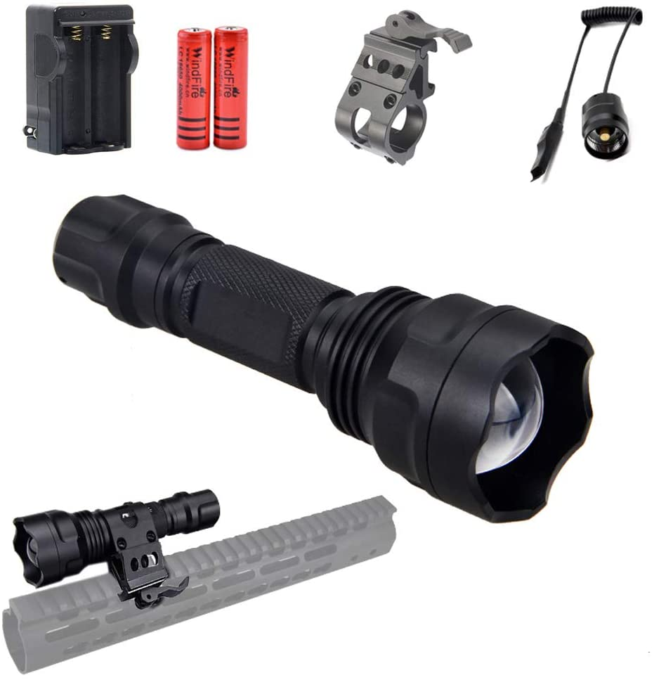 940nm IR Illuminator LED Flashlight Infrared Light for Night Vision Scope, Adjustable Focus, Zoomable,Waterproof Flashlights with Scope Mount, Remote Pressure Switch, Battery for Night Hunting