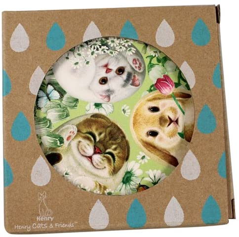 Cats Printed Water Absorbing Coasters for Drinks by Henry Cats and Friends 0 Hide&Seek Drink Coasters set of 2 Square Coasters water Absorbent Holiday Christmas Gift for home, office, work