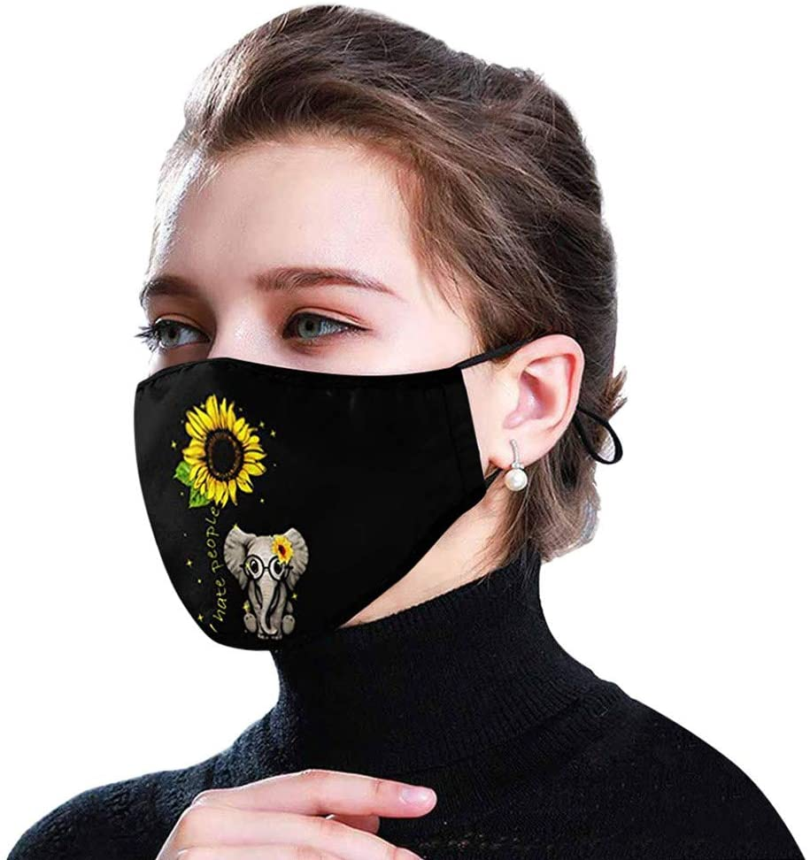 【USA In Stock 】Adult Fashion Protect_Face_Mask_Cover Reusable Cotton Face Bandana Washable Breathable Sunflower Floral Printed Cloth Face Màcks for Women