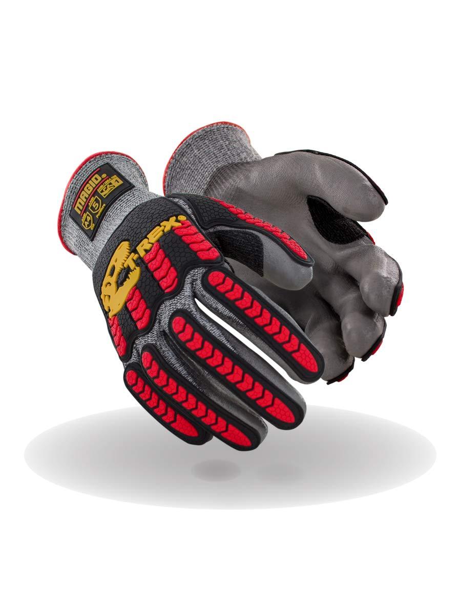 Magid Glove & Safety T-REX TRX442 Flex Series Lean Lightweight Polyurethane Palm Coated Impact Glove - Cut Level A4 (2 Pair), 10/XL
